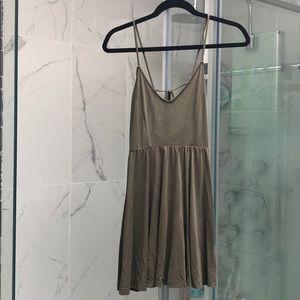 Forever 21 olive green cami mini skater dress sz S